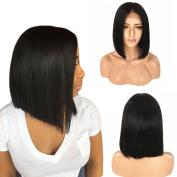 Beeos Hair Lace Front Bob Wigs For Black Women Human Hair Short Wigs Bleached Knots Glueless Silk Straight Brazilian Virgin Human Hair 30cm