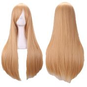 """D2C Beauty Women's Long Straight Cosplay Costume Wigs Hair Extension 32"""" 80cm, Gold"""