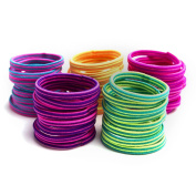 Munax Girl's Kids Flat Elastic Hair Ties Hair Band No Crease Ouchless Ponytail Holders, assorted colours, 100 pcs