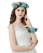 AWAYTR Flower Wreath Headband Floral Crown Garland Halo with Floral Wrist Band for Wedding Festivals