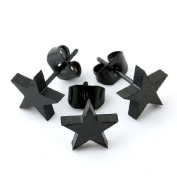 Top Plaza 4pcs-6pcs Stainless Steel 0.7mm Pin Black Stainless Steel Star Stud Earring, 4 Colours