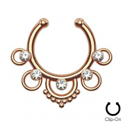 Non-Piercing Septum Hanger with Five Rings and Centre Gems
