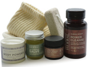 Natural Foot Care Set For Men, Paraben Free, Organic Cotton Socks, Pumice on a rope, Powercleanse Scrub, Healing Salve, Luxurious Body Butter, Talc Free Powder Scented with Antifungal Essential Oils