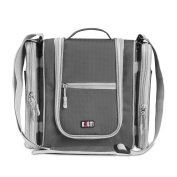 BUBM Multi-Use Bag Travel Hook Hanging Toiletry Bag Organiser Or Bathroom Storage Bag With Removable Side Compartments Versatile Bag - Grey