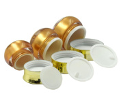 TOPWEL 10g/15g/30g Empty Refillable Golden Butterfly Acrylic Cosmetic Cream Jar Pot Bottle Container -Pack of 3