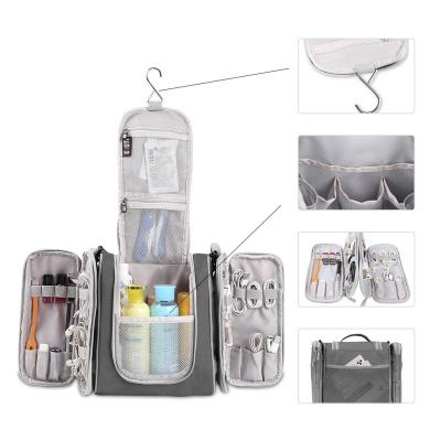 BUBM Big Nylon Waterproof Travel Anti Scratch Beauty Toiletry Bag Cosmetic Case With Wall Hook Hanger Big Capacity (Grey)