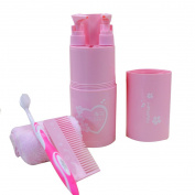 Mily Travel kits Travel Wash Supplies Toothbrush Box 7Pcs Pink