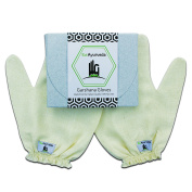 Iba Ayurveda - Garshana Massage Gloves - 100% Hand-loomed Raw Silk - Size:Large
