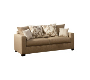 Furniture of America Fairfax Modern Sofa with Accent Pillows, Sand Stone