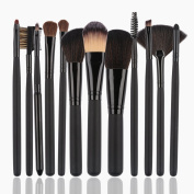 Diolee 12 PCS Professional Makeup Brush Set Soft Kakubi Cosmetic Synthetic Foundation Blending Blush Face Powder Brush Makeup Brush Kit with Travel Pouch Bag