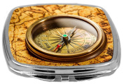 Rikki Knight Compact Mirror, Vintage Compass Lies on Ancient World Map, 90ml