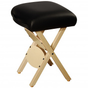 Mt Massage Tables Wooden Folding Massage Stool, Black