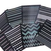 BMC 8 Sheet Holographic Nail Art Manicure Vinyl Guide Sticker Set - Holo Strips
