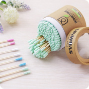 200 Pcs Sugar Makeup Swabs Spiral Cotton Buds with Wooden Stick Double Head Cosmetics Applying Cleaning, Random Colour by DMZing