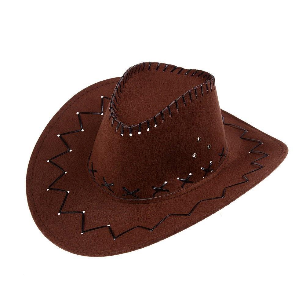 2018 shoes clearance sale online retailer CosCosX 1 PCS Brown Cowboy Hat, Unisex Fancy Dress Accessory Wide Brim  Stetson Cowgirl Hats Wild West