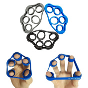 Airisland Hand Grip Strengthener Finger Stretcher Strength Trainer Resistance Bands for Forearm Exercise Guitar Finger Strengtheners and Rock Climbing Grips Workout 3PCS