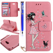 Samsung Galaxy J3 2017(U.S. Edition) Wallet Case,FESELE Light Up Luminous Cell Phone Cover for Samsung Galaxy J3 2017 PU Leather Wallet Case with Lanyard [Girl Butterfly Flower] [Luminous] Flip Folio Wallet Case with Kickstand and Card Slots PU Leather ..