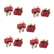 Haodou 5Pairs T-Plug Connectors Deans Style Male And Female For Rc Esc Lipo Battery