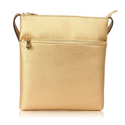 Womens Cross Body Handbags Ladies Faux Leather Bag Front Zip Pocket Adjustable Long Shoulder Starp Gold Metal Work Including Two Open And One Zip Pocket Inside The Bag