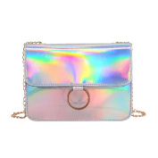 Novias Boutique Women Girls Fashion PU Leather Hologram Cross Body Shoulder Bag Handbag