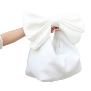 Millya Lovely Bowknot Evening Prom Clutch Mini Plain Zipped Tote Shoulder Bag Purse for Ladies Teens Girls