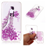 Case for Huawei P10 Lite,Bling Case for Huawei P10 Lite,Leeook Pretty Creative Glitter Bling Shiny Sparkly Rose Red Flower Dressed Girl Pattern Design Ultra Thin Scratch Resistant Flexible TPU Soft Transparent Clear Gel Silicone Rubber Skin Bumper Case ..