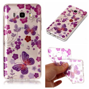 Galaxy J5 2016 Case,Bling Case for Samsung J5 2016,Leeook Pretty Creative Glitter Bling Shiny Sparkly Red Flower Purple Butterfly Pattern Design Ultra Thin Scratch Resistant Flexible TPU Soft Transparent Clear Gel Silicone Rubber Skin Bumper Case Cover ..