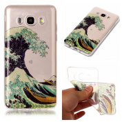 Galaxy J5 2016 Case,Bling Case for Samsung J5 2016,Leeook Pretty Creative Glitter Bling Shiny Sparkly Sea Waves Pattern Design Ultra Thin Scratch Resistant Flexible TPU Soft Transparent Clear Gel Silicone Rubber Skin Bumper Case Cover for Samsung Galax ..