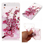 Case for Huawei P8 Lite,Bling Case for Huawei P8 Lite,Leeook Pretty Creative Glitter Bling Shiny Sparkly Pink Flower Bee Pattern Design Ultra Thin Scratch Resistant Flexible TPU Soft Transparent Clear Gel Silicone Rubber Skin Bumper Case Cover for Huaw ..