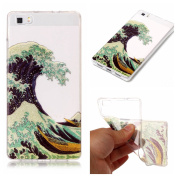 Case for Huawei P8 Lite,Bling Case for Huawei P8 Lite,Leeook Pretty Creative Glitter Bling Shiny Sparkly Sea Waves Pattern Design Ultra Thin Scratch Resistant Flexible TPU Soft Transparent Clear Gel Silicone Rubber Skin Bumper Case Cover for Huawei P8 ..