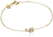 "Shy By Sydney Evan Sterling Silver Yellow Gold Plated ""Bff"" Bracelet with Diamond Bezel of 17.145cm"