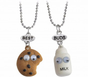 Elegant Rose 2 Pieces Best Buds Best Friends Cute Milk and Cookie Friendship Necklaces Creative Gift for Friends Girls