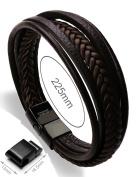 Murtoo Mens Genuine Cowhide Leather Braided Bracelet Magnetic-Clasp Multi-layer Wrap Bracelet, 22cm