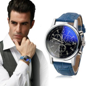LHWY Luxury Fashion Faux Leather Mens Blue Ray Glass Quartz Analogue Watches