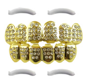 14K Gold Plated Iced Out Grillz with CZ Diamonds - Top and Bottom Set + 2 EXTRA Moulding Bars Included