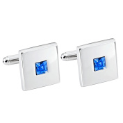 Stainless Steel Silver Colour Square Cuff Links with Blue Cubic Zirconia Stone