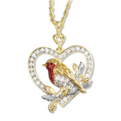 'Jewel Of Nature' ® Crystal Robin Pendant Plated In Rich 24-Carat Gold, And Showcasing Lustrous Enamel And A Genuine Diamond Exclusively Available From The Bradford Exchange