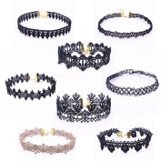 FEITONG Choker Necklace Set Stretch Velvet Classic Gothic Tattoo Lace Choker