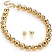 Gold colour large ball bead stud earrings and choker necklace jewellery set