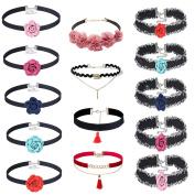MingJun 14 Pieces Multicolor Flower Choker Necklace Set Stretch Velvet Gothic Tassel Necklace for Women