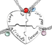 JSDDE Silver Tone Alloy Rhinestone Best Friends Forever and Ever BFF Necklace Engraved Puzzle Friendship Pendant Necklaces Set
