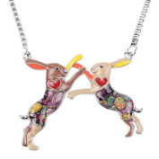 "BONSNY Woodland Rabbit Signature collection ""Boxing Hares "" Pendant Necklace RRP 45.99"