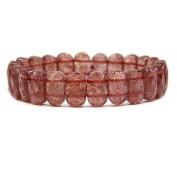 "Gem Semi Precious Gemstone 14mm Faceted Oval Beads Stretch Bracelet 7"" Unisex"