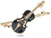 Alilang Elegant Violin Austrian Crystal Rhinestone Embellish Fashion Jewellery Brooch Pin
