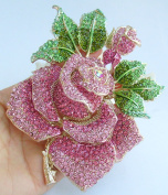 Sindary Gorgeous 14cm Big Rose Flower Brooch Pin Pink Austrian Crystal Pendant UKB2994