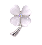 White Gold Plated Little Four Leaf Clover Shamrock Brooch Pin with Cat's Eye Stones