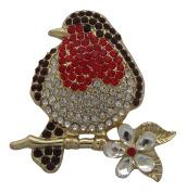 Brooch Boutique Gold Plated Crystal Robin Brooch Robin Redbreast Bird Brooch Christmas Pin Gift Boxed