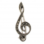 Sterling Silver with Marcasite Treble Clef Brooch / Pin