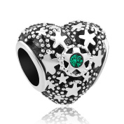 Uniqueen Filigree Star Charm 12 Colours Crystal Birthstone Spacer Heart Beads Fit Chamilia Bracelet