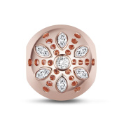 TINYSAND 925 Sterling Silver Rose Gold Charm Beads with Six Symmetrical Crystal Zircon Petals Flower Fit Europe Bracelet Gift
